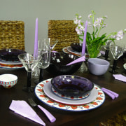 Brown dining table set with plates, bowls, wine ceramic, dining room, dishware, meal, porcelain, table, tableware, black