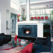 View of a contemporary set-up in this living fireplace, hearth, home, interior design, living room, room, gray, black