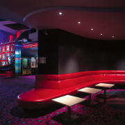 Westfield St Lukes Village SkyCity cinema. Bar area auditorium, entertainment, interior design, lighting, purple, stage, black