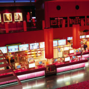 Village SkyCity Cinema complex in Westfield St. Lukes. interior design, restaurant, red