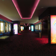 Westfield St Luke's Village SkyCity cinema. Range of interior design, light, lighting, black