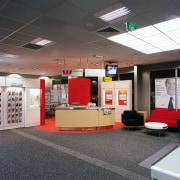 Westpac bank's new interior is spacious with an ceiling, floor, flooring, institution, interior design, black, gray
