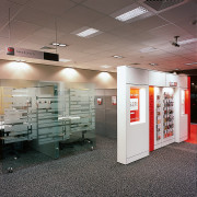 Westpac bank's new interior. Westpac's corporate colors are ceiling, exhibition, floor, interior design, gray