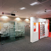Westpac bank's new interior. Westpac's corporate colors are ceiling, exhibition, floor, interior design, gray
