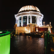 View of the dome centred on the rooftop architecture, building, city, light, lighting, night, reflection, tourist attraction, black
