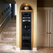 View of the home electronic system - View cabinetry, door, furniture, brown