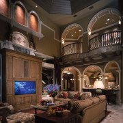 View of the living area - View of ceiling, home, interior design, living room, room, black, brown