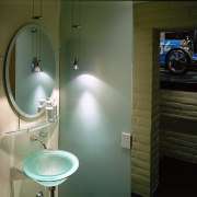 View of the bathroom - View of the bathroom, ceiling, glass, interior design, light, light fixture, lighting, room, sink, wall, brown