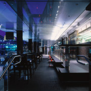 View of the main area of this bar architecture, glass, interior design, lighting, black