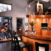 Close view of this kitchen - Close view dining room, furniture, interior design, room, table, black