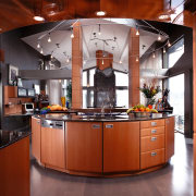 View of this well-designed kitchen - View of cabinetry, countertop, cuisine classique, interior design, kitchen, red