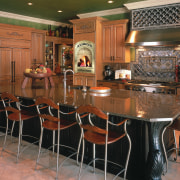 Antique looking kitchen. 5 stools around the island. cabinetry, countertop, dining room, floor, flooring, hardwood, interior design, kitchen, room, table, wood flooring, brown