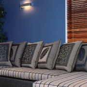 A view of the Key West sofa suite chair, couch, furniture, home, interior design, living room, wall, window, blue, gray