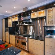 Close view of the kitchen's appliances - Close cabinetry, countertop, cuisine classique, home appliance, interior design, kitchen, gray, black