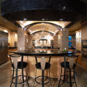 Low maple barrel vault ceiling with low lighting. ceiling, countertop, interior design, kitchen, table, black, brown
