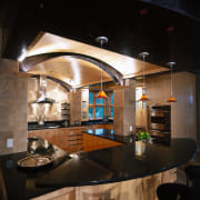 Low maple barrel vault ceiling with low lighting. ceiling, countertop, interior design, kitchen, lighting, black