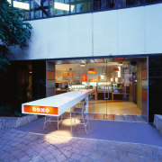 Exterior view of entrance way to food bar architecture, interior design, real estate, blue, teal