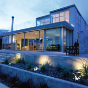 A house with a home automation system installed architecture, elevation, estate, facade, home, house, property, real estate, residential area, villa, window, blue