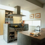 View of a kitchen with concrete benchtops - cabinetry, countertop, cuisine classique, interior design, kitchen, room