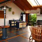View of the kitchen & dining area - real estate, brown, black