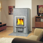A Stellaria Grigo fireplace with two shades of fireplace, hearth, heat, home appliance, stove, wood burning stove, gray, brown