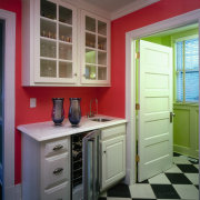 Bold color scheme.  This is the butler's cabinetry, countertop, floor, furniture, home, interior design, kitchen, room, window, gray