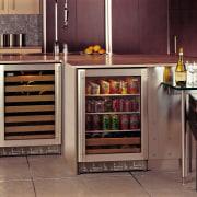 Beverage chiller and wine chiller set under kitchen cabinetry, countertop, furniture, home appliance, kitchen, kitchen appliance, kitchen stove, major appliance, refrigerator, black, brown
