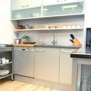 A semi-industrial looking kitchen. This area features a countertop, home appliance, interior design, kitchen, major appliance, product design, room, shelf, white, gray