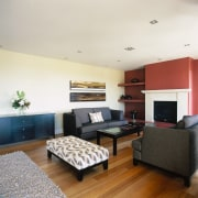 View of the family room - View of ceiling, floor, flooring, house, interior design, living room, real estate, room, white