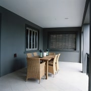 Overview of this outdoor dining area - Overview interior design, room, gray, black