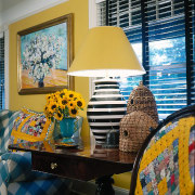 view of beehive accessories and custom made italian blue, furniture, home, interior design, lampshade, lighting accessory, living room, room, table, wall, yellow
