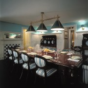 view of antique custom upholstered chairs ceiling, chandelier, countertop, dining room, furniture, home, interior design, kitchen, light fixture, lighting, room, table, black, gray