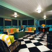view of this porch showing bright colours, antique ceiling, home, interior design, living room, real estate, room, black