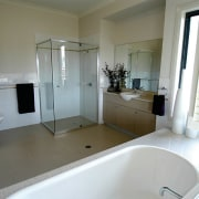 View of the bathroom - View of the bathroom, floor, home, property, real estate, room, window, gray