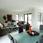 View of the living area - View of interior design, living room, property, real estate, room, gray, white