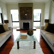 View of the family room - View of furniture, home, interior design, living room, property, real estate, room, window, gray