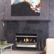 View of the fireplace - View of the fireplace, hearth, heat, interior design, wood burning stove, gray, black