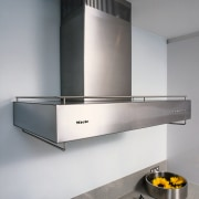 View of the canopy hood - View of exhaust hood, home appliance, kitchen, kitchen appliance, kitchen stove, product design, gray