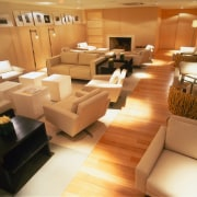 View of the lobby - View of the floor, flooring, furniture, interior design, living room, orange, brown