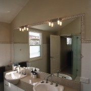 View of bathroom and mirror - View of architecture, bathroom, ceiling, daylighting, home, interior design, room, sink, window, brown, gray