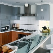 Inner view of the kitchen & its appliances countertop, cuisine classique, interior design, kitchen, gray