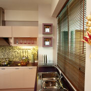 View of this contemporary kitchen - View of countertop, interior design, kitchen, real estate, room, window, brown, orange