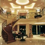 View of the stairway & lighting - View ceiling, estate, floor, flooring, interior design, lobby, wall, brown, orange
