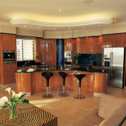 Overview of the kitchen - Overview of the cabinetry, countertop, interior design, kitchen, living room, real estate, room, brown, orange