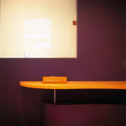 Close view of the shelving - Close view ceiling, floor, furniture, interior design, lamp, light, light fixture, lighting, orange, table, wall, yellow, red