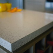 View of the edge of the countertop - countertop, floor, material, table, gray, black