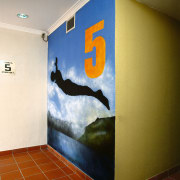 View of the artwork within the hotel - art, floor, interior design, modern art, mural, room, wall, brown