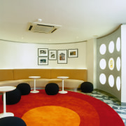 View of the lounge area - View of architecture, ceiling, floor, flooring, interior design, room, table, yellow