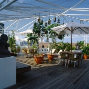 View of the roof-top timber deck - View arecales, greenhouse, outdoor structure, plant, real estate, roof, tree, black, teal