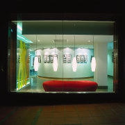 View of the lobby - View of the display device, display window, glass, technology, tourist attraction, black